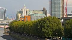 London UK River Thames St Pauls skyscraper boat city TL Stock Footage