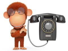 The monkey with phone - stock illustration
