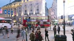 London UK Piccadilly Circus illuminated billboard night business TL Stock Footage