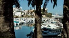 Spain Palma de Mallorca 075 Inner harbor behind palm trees opposite of marina Stock Footage