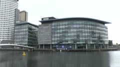 Part of the MediaCityUK complex including the BBC, Salford Quays, UK. Stock Footage