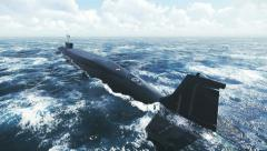 Nuclear submarine floating away into the distance 4K Stock Footage