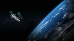 Stock Video Footage of Spatial satellite around the earth planet in outer space