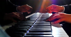 4K Talented Pianist plays Grand Piano on Stage, Film-like Cinematic Lighting - stock footage