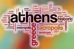 Athens word cloud with abstract background - stock illustration