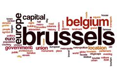 Brussels word cloud - stock illustration