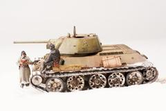 Diorama with old soviet t 34 tank - stock photo