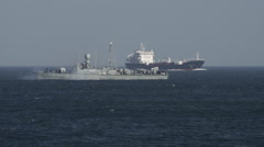 German Navy Ship and Cargo Ship 2 Stock Footage