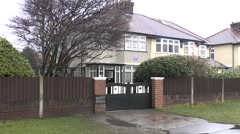 The childhood home of John Lennon in Liverpool, UK. - stock footage