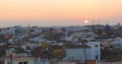Valencia old town panorama torres de serranos 4k spain Stock Footage