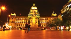 Timelapse of the Wenceslas square in Prague Stock Footage