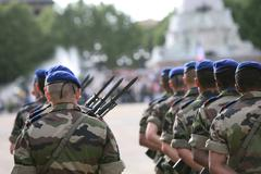A french armed marching soldier Stock Photos