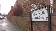 Forthlin Road, Liverpool road sign. Paul McCartney lived on this road. Stock Footage