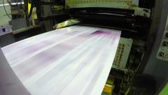 4K print plant factory, magazine line  press rollers into printing units, UHD Stock Footage
