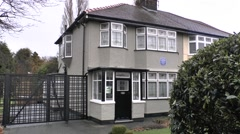 The childhood home of John Lennon in Liverpool, UK. Stock Footage