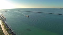 Aerial Tugboat Arriving At Government Cut Harbor Clip 1 Stock Footage