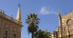 Day light sunny cathedral blue sky view 4k spain Stock Footage
