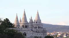 Fisherman bastion in Budapest, Hungary in the evening Stock Footage