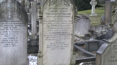 The grave of Eleanor Rigby, St Peter's Church cemetery, Liverpool, UK. - stock footage
