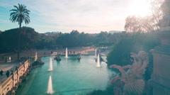 barcelona sun light fountain in park de la ciutadella 4k time lapse spain - stock footage