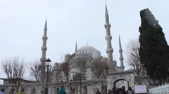Blue Mosque day, snowing - Istanbul Stock Footage