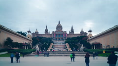 Barcelona day light national palace panorama 4k time lapse spain Stock Footage