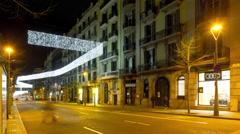 Night light barcelona traffic street holiday decoration 4k time lapse spain Stock Footage