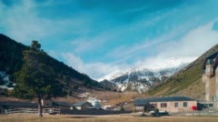 Mountain resort sun light panorama vall de nuria 4k time lapse spain Stock Footage