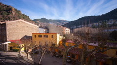 Ribes de freser sun light hotel view street 4k time lapse spain Stock Footage
