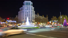 Night light barcelona traffic crossroad 4k time lapse spain Stock Footage