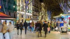 Barcelona la rambla crowded street night light 4k time lapse spain Stock Footage