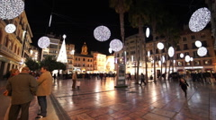 Stock Video Footage of Big square marketplace in Malaga