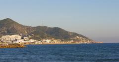 Sunset light panorama of sitges coast 4k spain Stock Footage