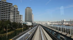 Stock Video Footage of monorail in Odaiba