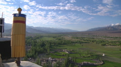 Mountains and the Indus river at the Shey Monastery in Ladakh, India Stock Footage