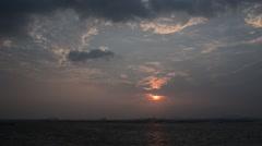 Sunset sky at sea in winter season, Sriracha, Chonburi, Thailand Stock Footage