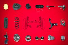 Suspension and steering parts - stock illustration