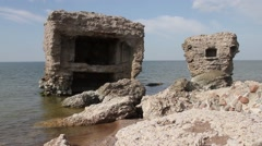 Old demolished Northern forts in Liepaja, Latvia on the Baltic sea coast - stock footage