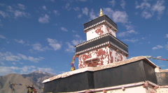 Mountains and temple at the Shey Monastery in Ladakh, India Stock Footage