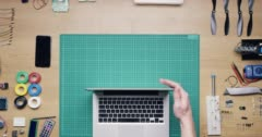 Top view software engineer hands coding  at desk from above - Red Epic Dragon Stock Footage
