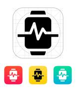 Pulse on smart watch icon Stock Illustration