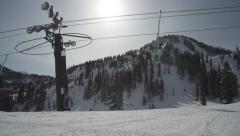 Glide Cam Chairlift Tracking Shot Stock Footage