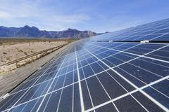 Solar panels in the Mojave Desert. - stock photo