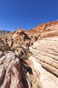 View of Red Rock Canyon in the Mojave Desert. - stock photo