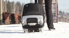 Girl with suitcase - stock footage