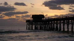 Cocoa Beach Sunrise Pier Florida Stock Footage