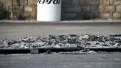 Ashes remains after a fire - stock footage