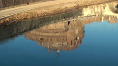 Reflection of the Castel Sant'Angelo in the river Tiber. Rome Stock Footage