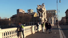 Tourists on the Ponte Vittorio Emanuele II. Rome Stock Footage