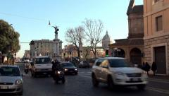 Road traffic near the Ponte Vittorio Emanuele II (Via S. Pio X). Rome Stock Footage